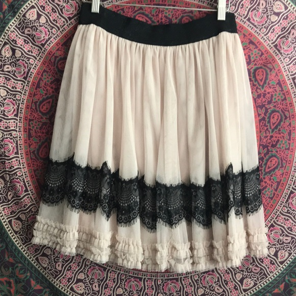 Dresses & Skirts - Pink and black lace skirt